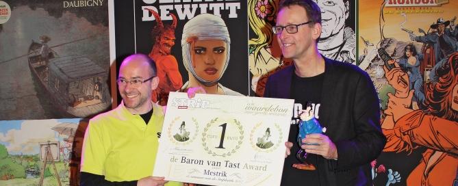 StripGlossy StripBattle uitgever Seb van der Kaaden en winnaar Meinte Strikwerda rechts foto (c) Alex Odijk site